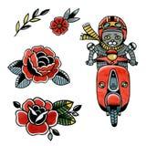 Grijze code inzake een bromfiets en van de bloemenschets tatoegering vector illustratie