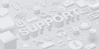 Grijze 3d steunachtergrond met uisymbolen stock illustratie