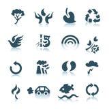 Grijze ecologiepictogrammen stock afbeeldingen