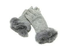 Grijze elegante handschoenen Stock Afbeelding