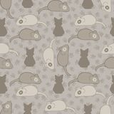 Grijze en Bruine Cat Stitched Mouse Vector Pattern vector illustratie