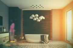 Grijze en houten gestemde badkamers, Royalty-vrije Stock Afbeelding