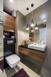 Grijze en houten luxebadkamers Stock Afbeeldingen