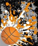 Grijze en oranje basketbalachtergrond Stock Afbeelding