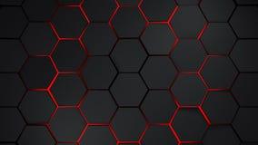 grijze en rode zeshoeken moderne achtergrond stock illustratie