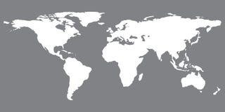 Grijze gelijkaardige wereldkaart De spatie van de wereldkaart De kaart van de wereld Vlakke wereldkaart vector illustratie