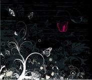 Grijze grunge bloemenvector Stock Foto