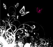 Grijze grunge bloemenvector Stock Afbeelding
