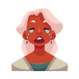 Grijze haired oude dame, schreeuwende gelaatsuitdrukking vector illustratie