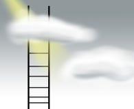 Grijze hemel en Ladder Stock Foto's