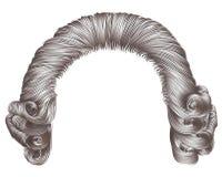 Grijze het haarkrullen van de mensenpruik middeleeuwse stijlrococo's Stock Foto's