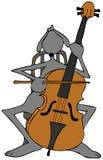 Grijze hond die een cello spelen Royalty-vrije Stock Afbeeldingen