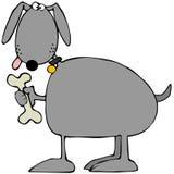 Grijze hond die een koekje houden vector illustratie