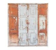 Grijze houten die deur op witte achtergrond wordt geïsoleerd Royalty-vrije Stock Foto's
