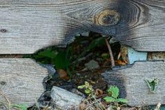 Grijze houten omheiningsraad met een verkoold zwart gat royalty-vrije stock foto's