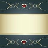 Grijze kaart met gouden banner, hart en lijnen Stock Foto