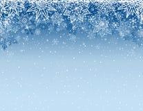 Grijze Kerstmisachtergrond met sneeuwvlokken en sterren, vector stock illustratie