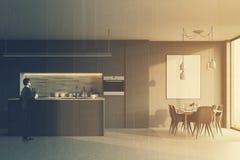 Grijze keuken met een bar, affichedubbel Royalty-vrije Stock Foto