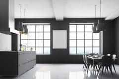 Grijze keuken, vierkante vensters, lijst Stock Afbeelding