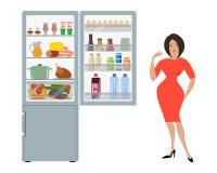 Grijze koelkast met open deuren, een hoogtepunt van voedsel vector illustratie