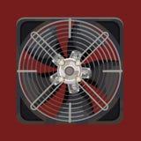 Grijze koelsysteemventilator achter metaalbars stock illustratie