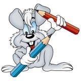 Grijze konijn en kleurpotloden Royalty-vrije Stock Afbeelding