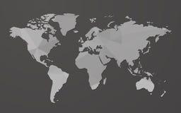 Grijze lege wereldkaart op zwarte achtergrond