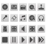 Grijze media pictogrammen op grijze vierkanten Royalty-vrije Stock Fotografie
