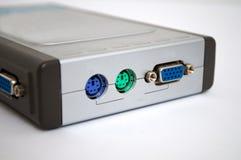 Grijze modem op een witte achtergrond stock foto's