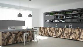 Grijze moderne minimalistic keuken, met klassieke houten montage, panoramisch venster, modern binnenlands ontwerp vector illustratie
