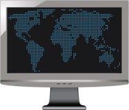 Grijze monitor met wereldkaart Stock Fotografie