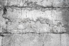 Grijze muur die met een ongelijke ruwe laag van pleister met gaten, onregelmatigheden, barsten en dun sporen van stromende zwarte stock afbeelding