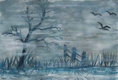 Grijze mysticusmist op een moeras stock illustratie