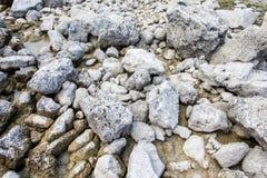 Grijze natte rotsachtige textuur bij de zandige achtergrond stock fotografie