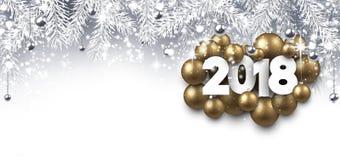 Grijze 2018 Nieuwjaarbanner vector illustratie