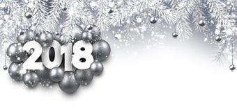 Grijze 2018 Nieuwjaarbanner stock illustratie