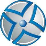 Grijze orb met pijlen royalty-vrije illustratie