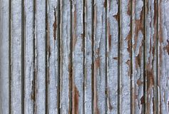 Grijze oude omheiningsmuur van houten planken met witte schilverf Verticale lijnen Ruwe Oppervlaktetextuur stock foto's