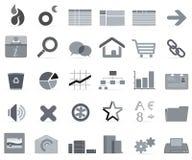 Grijze pictogrammen   Stock Foto