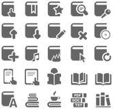 Grijze pictogrammen van boeken en literatuur Stock Afbeeldingen