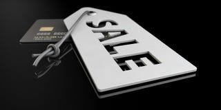 Grijze prijsetiketten met het van letters voorzien van geïsoleerde zwarte, 3d Illustratie royalty-vrije stock fotografie