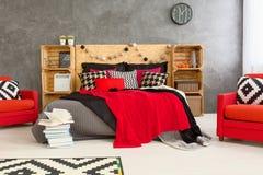Grijze, rode en witte ruimte Royalty-vrije Stock Foto's