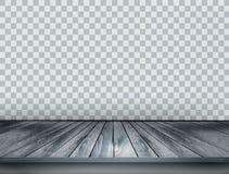Grijze schaalachtergrond met houten vloer royalty-vrije illustratie