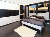 Grijze slaapkamer Stock Afbeelding
