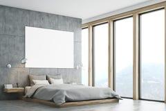 Grijze slaapkamer met affiche en venster vector illustratie