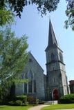 Grijze steen bisschoppelijke kerk, torenspits, Keene van de binnenstad, Nieuwe Hampsh royalty-vrije stock foto