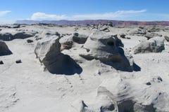 Grijze steenwoestijn Ischigualasto, Argentinië Stock Afbeelding