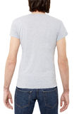 Grijze t-shirt op de mens, achterkant Stock Fotografie