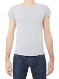 Grijze t-shirt op de mens op wit Stock Afbeeldingen
