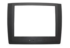 Grijze televisie op wit Stock Afbeeldingen